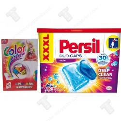 Промо пакет Persil 50бр дози за цветно пране, Color Цветоулавящи кърпи 24 броя