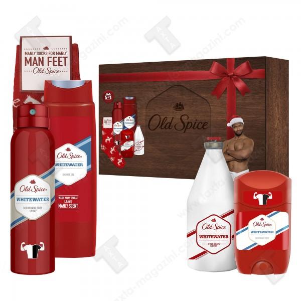 Old spice подаръчен комплект за мъже, дезодорант 150мл, душ гел 250мл, афтършейв 100мл, стик, чорап, whitewater