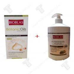 Промо пакет за косопад с чесън, шампоан 360м+шампоан 1 литър,Bioblas