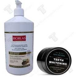 Промо пакет Bioblas шампоан против косопад 1 литър, Teeth whitening карбонова паста за избелване на зъби
