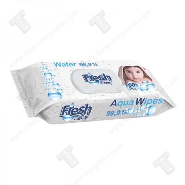 Fresh baby Aqua wipes - мокри кърпи 99,9% вода,60 броя