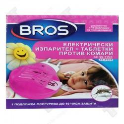 BROS електрически изпарител + таблетки против комари 10брSensitive,, подходящи за деца