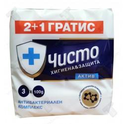 Чисто антибактериален сапун 3х100гр Актив